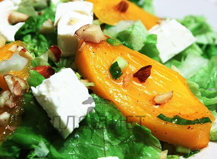 Диетический рецепт салата с хурмой