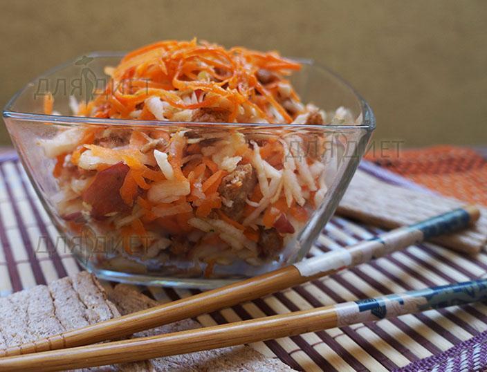 Рецепт салата из кольраби и моркови